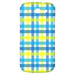 Gingham Plaid Yellow Aqua Blue Samsung Galaxy S3 S III Classic Hardshell Back Case