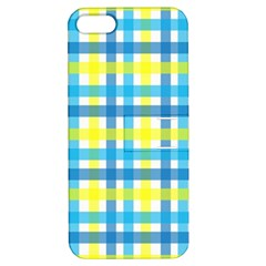 Gingham Plaid Yellow Aqua Blue Apple iPhone 5 Hardshell Case with Stand