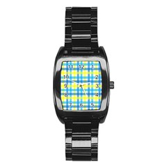 Gingham Plaid Yellow Aqua Blue Stainless Steel Barrel Watch