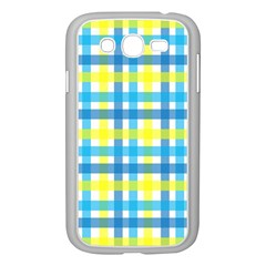 Gingham Plaid Yellow Aqua Blue Samsung Galaxy Grand Duos I9082 Case (white)