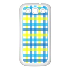 Gingham Plaid Yellow Aqua Blue Samsung Galaxy S3 Back Case (white)