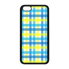 Gingham Plaid Yellow Aqua Blue Apple iPhone 5C Seamless Case (Black)