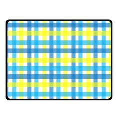 Gingham Plaid Yellow Aqua Blue Double Sided Fleece Blanket (small)