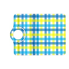 Gingham Plaid Yellow Aqua Blue Kindle Fire HD (2013) Flip 360 Case