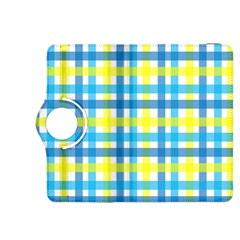 Gingham Plaid Yellow Aqua Blue Kindle Fire Hdx 8 9  Flip 360 Case