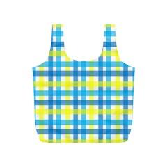 Gingham Plaid Yellow Aqua Blue Full Print Recycle Bags (S)
