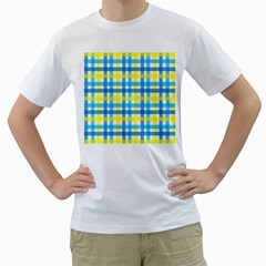 Gingham Plaid Yellow Aqua Blue Men s T Shirt (white)