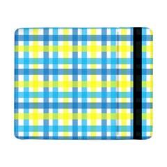 Gingham Plaid Yellow Aqua Blue Samsung Galaxy Tab Pro 8.4  Flip Case