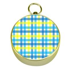 Gingham Plaid Yellow Aqua Blue Gold Compasses