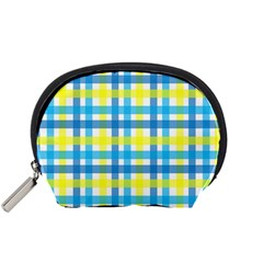 Gingham Plaid Yellow Aqua Blue Accessory Pouches (Small)