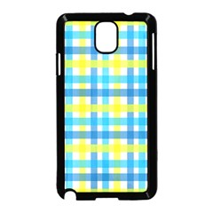Gingham Plaid Yellow Aqua Blue Samsung Galaxy Note 3 Neo Hardshell Case (Black)