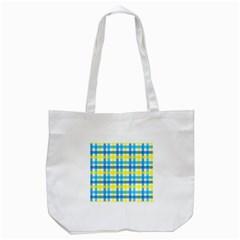 Gingham Plaid Yellow Aqua Blue Tote Bag (White)