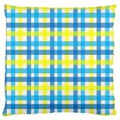 Gingham Plaid Yellow Aqua Blue Large Flano Cushion Case (one Side)