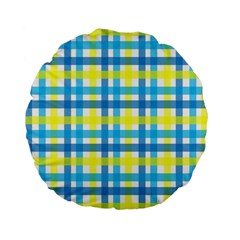 Gingham Plaid Yellow Aqua Blue Standard 15  Premium Flano Round Cushions