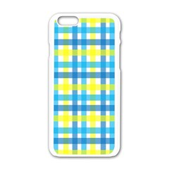Gingham Plaid Yellow Aqua Blue Apple Iphone 6/6s White Enamel Case