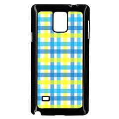 Gingham Plaid Yellow Aqua Blue Samsung Galaxy Note 4 Case (Black)