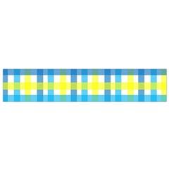 Gingham Plaid Yellow Aqua Blue Flano Scarf (Small)