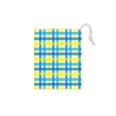 Gingham Plaid Yellow Aqua Blue Drawstring Pouches (xs)