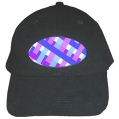 Geometric Plaid Gingham Diagonal Black Cap