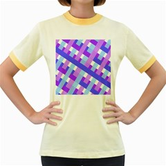 Geometric Plaid Gingham Diagonal Women s Fitted Ringer T-Shirts