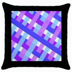 Geometric Plaid Gingham Diagonal Throw Pillow Case (Black)