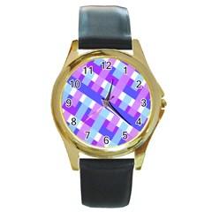 Geometric Plaid Gingham Diagonal Round Gold Metal Watch