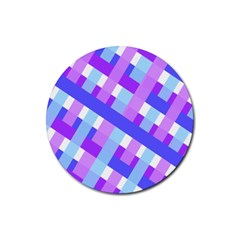 Geometric Plaid Gingham Diagonal Rubber Round Coaster (4 pack)
