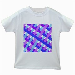 Geometric Plaid Gingham Diagonal Kids White T-Shirts