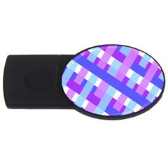 Geometric Plaid Gingham Diagonal USB Flash Drive Oval (1 GB)