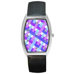 Geometric Plaid Gingham Diagonal Barrel Style Metal Watch