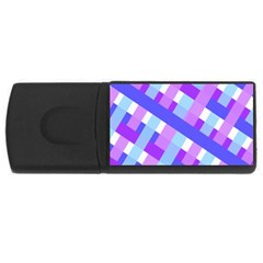 Geometric Plaid Gingham Diagonal USB Flash Drive Rectangular (4 GB)