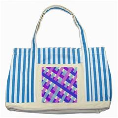 Geometric Plaid Gingham Diagonal Striped Blue Tote Bag