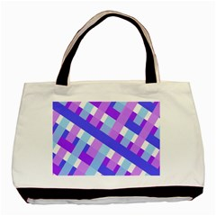 Geometric Plaid Gingham Diagonal Basic Tote Bag (two Sides)