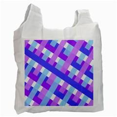 Geometric Plaid Gingham Diagonal Recycle Bag (two Side)
