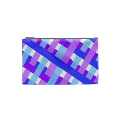 Geometric Plaid Gingham Diagonal Cosmetic Bag (Small)