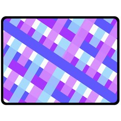 Geometric Plaid Gingham Diagonal Fleece Blanket (Large)