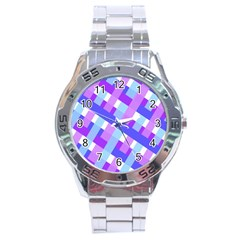 Geometric Plaid Gingham Diagonal Stainless Steel Analogue Watch