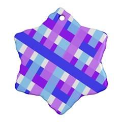 Geometric Plaid Gingham Diagonal Snowflake Ornament (Two Sides)