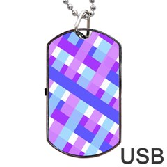 Geometric Plaid Gingham Diagonal Dog Tag USB Flash (One Side)