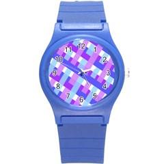 Geometric Plaid Gingham Diagonal Round Plastic Sport Watch (S)