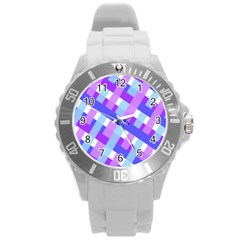 Geometric Plaid Gingham Diagonal Round Plastic Sport Watch (L)