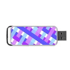 Geometric Plaid Gingham Diagonal Portable USB Flash (One Side)