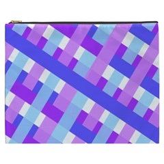 Geometric Plaid Gingham Diagonal Cosmetic Bag (xxxl)