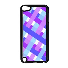 Geometric Plaid Gingham Diagonal Apple Ipod Touch 5 Case (black)