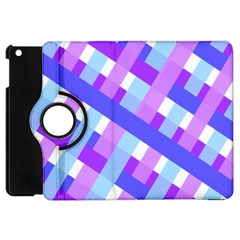 Geometric Plaid Gingham Diagonal Apple iPad Mini Flip 360 Case