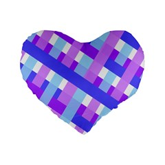 Geometric Plaid Gingham Diagonal Standard 16  Premium Heart Shape Cushions