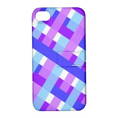 Geometric Plaid Gingham Diagonal Apple iPhone 4/4S Hardshell Case with Stand