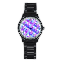 Geometric Plaid Gingham Diagonal Stainless Steel Round Watch