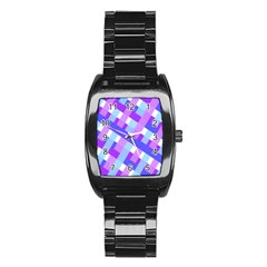 Geometric Plaid Gingham Diagonal Stainless Steel Barrel Watch