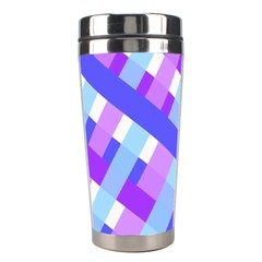 Geometric Plaid Gingham Diagonal Stainless Steel Travel Tumblers